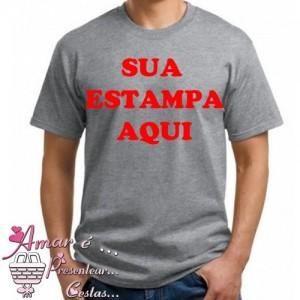 Camiseta Mescla Cinza Personalizada Com Sua Estampa