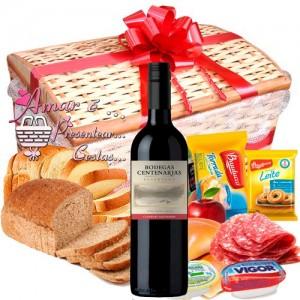 Baú Vermelho Especial Aniversário C/ Vinho Chileno