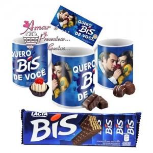 Caneca Quero Bis de Você com Chocolates